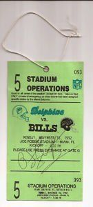 OJ Simpson & Jim Kelly Autograph Dolphins Ticket PSA . $94.99. This isaNovember 16,1992Ticket of Miami Dolphins game is Monday Night Dolphins vs Bills. The ticket isautographon the front by OJ Simpson in black ball point pen. & autograph on the back by Jim Kelly in black ball point pen.Ticket is ingood shape Has a crease in it along the top.Ticket is PSA/DNA certifed and comes with a PSA/DNA Certificate of Authenticity.Please see scan