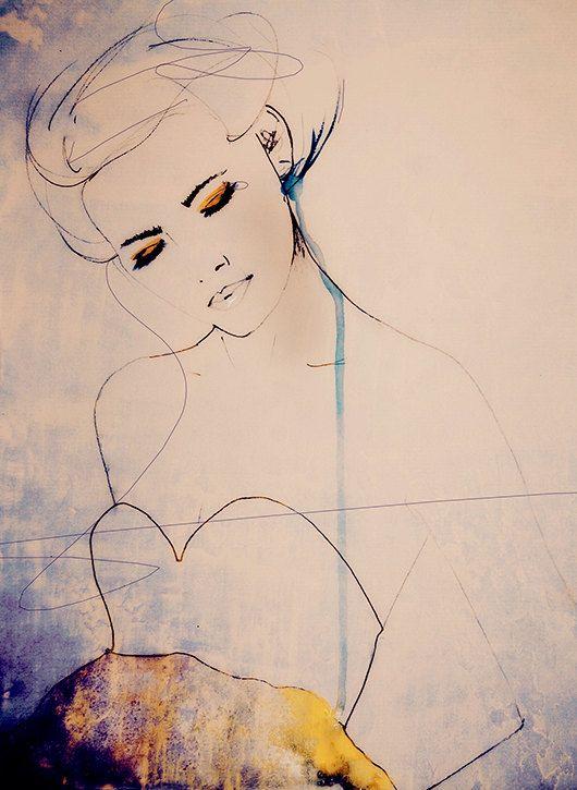 Abstractions Aside  Fashion Illustration Art Print door LeighViner
