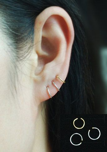 Cartilage hoop earring,Cartilage earring, Tragus earring,no piercing earring by TakeOnMe7 on Etsy