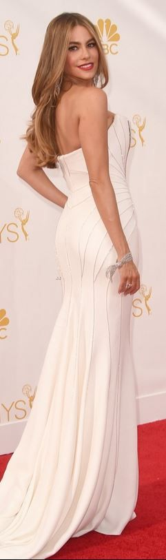 Who made  Sofía Vergara's white strapless gown that she wore 2014 Emmy Awards in Los Angeles