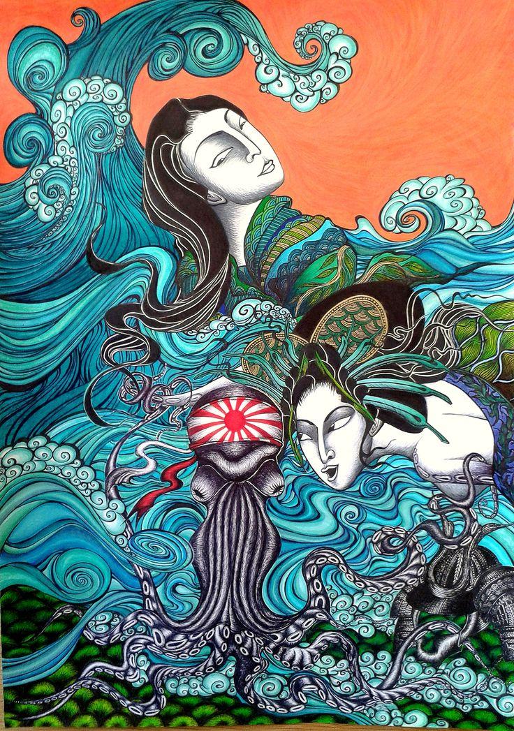 """Breathing underwater"" - strongly inspired by ukiyo-e, shin-hanga & sōsaku-hanga."