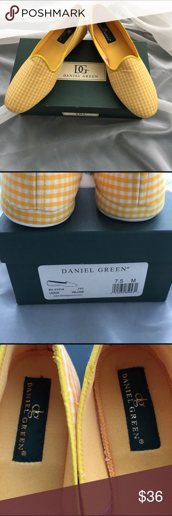 Daniel Green Slippers Daniel Green Slippers, NWOT, original box, pretty yellow gingham Daniel Green Shoes Slippers