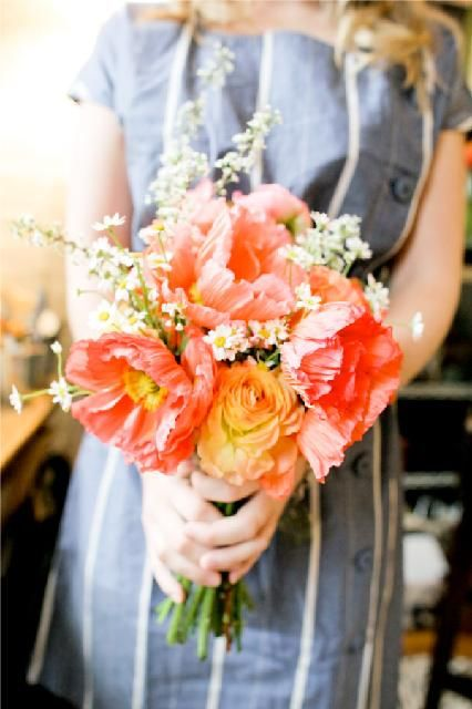 Coral Poppy bouquet