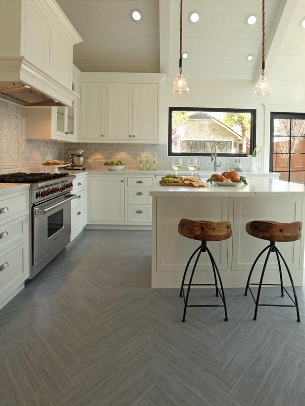 Kitchen Floor Wood Ceramic Tile  Wood-Look Ceramic Tile: Tile in Disguise  |skyfall grey|: Cabinets, Modern Farmhouse, Black Window, Ideas, Kitchens Floors, Herringbone Pattern, Bar Stools, Herringbone Floors, White Kitchens