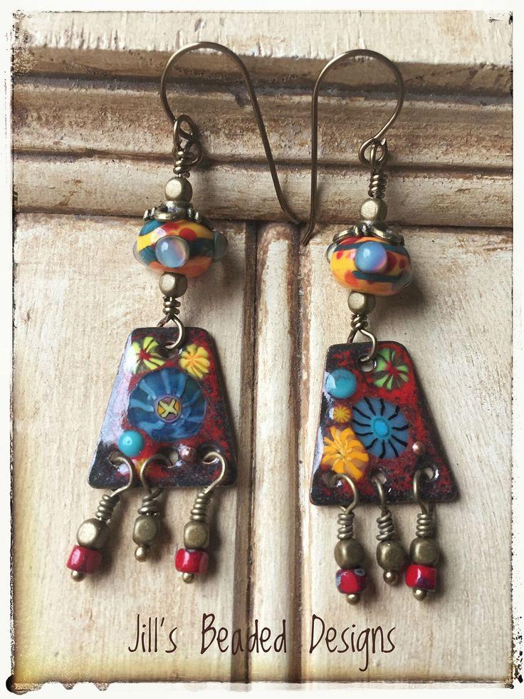 Enamel Copper Earrings, Lampwork Glass Earrings, Red Yellow Turquoise Earrings by JillsBeadedDesigns on Etsy