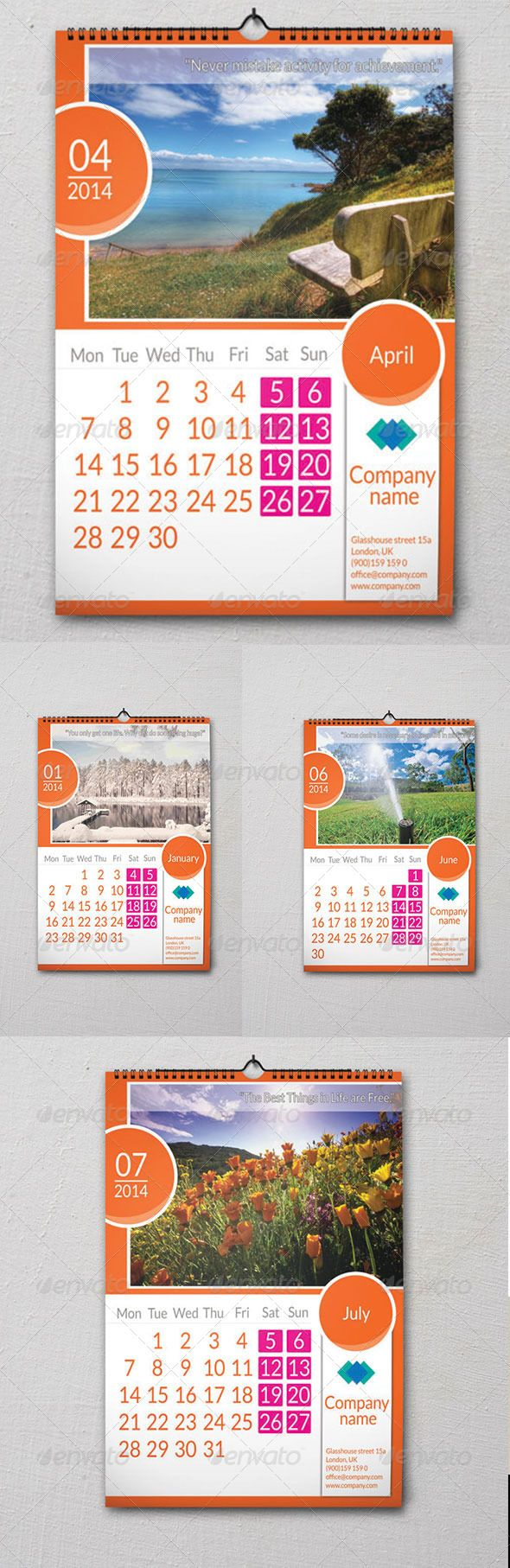 Wall calendar 2014 Ready for Print File include: 12 PSD files(1/month) Free font used: Lato( http://www.fontsquirrel.com/fonts/lat