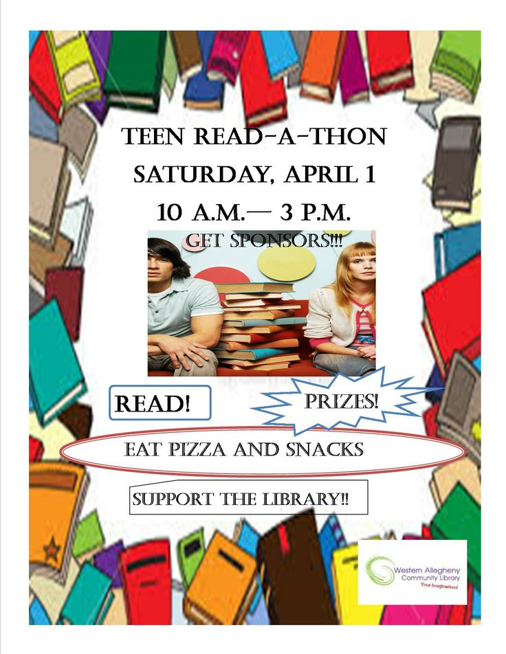 WACL's Teen Read-a-Thon ~ Saturday, April 1st, 10am - 3pm ~ Teens supporting the library.  Stop in at the circulation desk or the YA section to pick up your Sponsor Pledge Form or visit our event calendar and download.