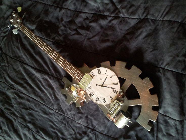 The Death Clock - Custom Steampunk bass guitar.