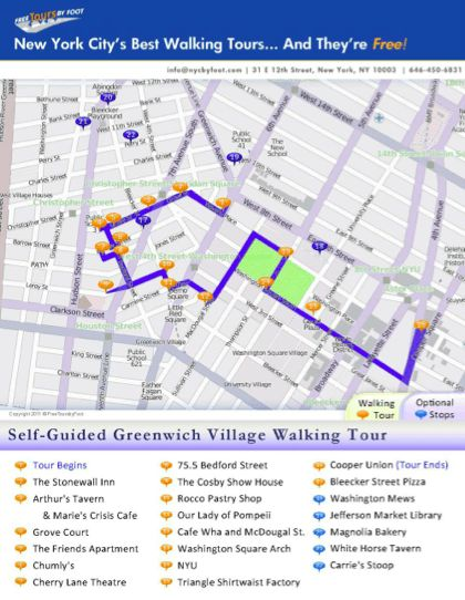 This free, self guided Greenwich Village walking tour, complete with a map and legend can also be used as a guide on our regularly scheduled public tour.