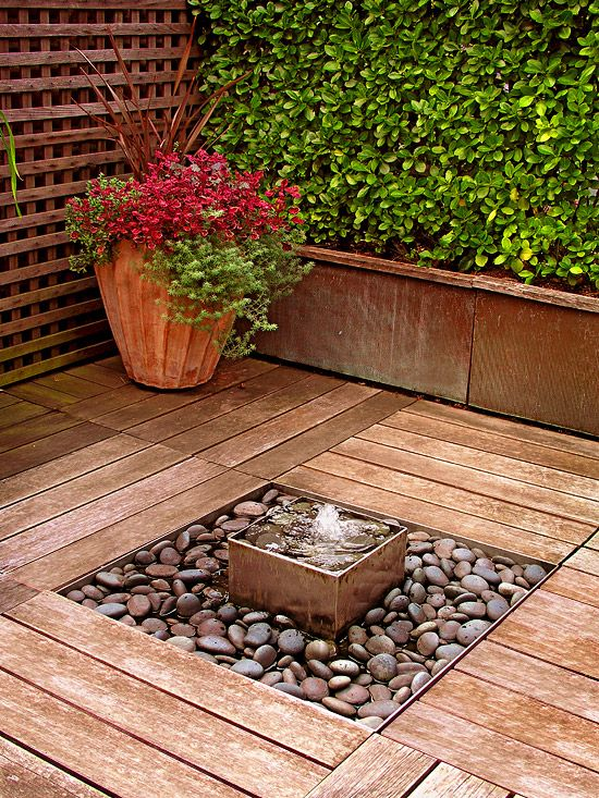 Make it Wonderful with Water: Use a fountain to soften the noise of a busy street or to create a pleasant background sound. It's easy to add a water feature to your deck. Tuck small fountains in corners where they'll be out of the way or use a bigger, bolder piece as a dramatic focal point.