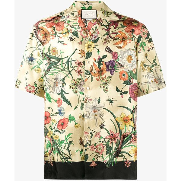 Gucci Short Sleeve Printed Bowling Shirt ($770) ❤ liked on Polyvore featuring men's fashion, men's clothing, men's shirts, men's casual shirts, mens silk shirts, mens short sleeve straight hem shirts, mens casual short-sleeve button-down shirts, mens button front shirts and mens silk short sleeve shirts