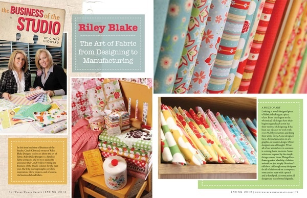my fabrics in the latest issue of   Where Women Create magazine!: Create Magazine, Quilt, Holt Fabrics, Riley Blake, 12 Issues, Adorable Fabric, Women Create
