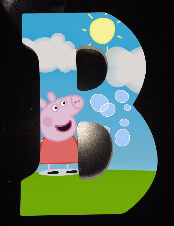 Custom wooden letters hanging Peppa Pig wood letter by YouNameItByJessica
