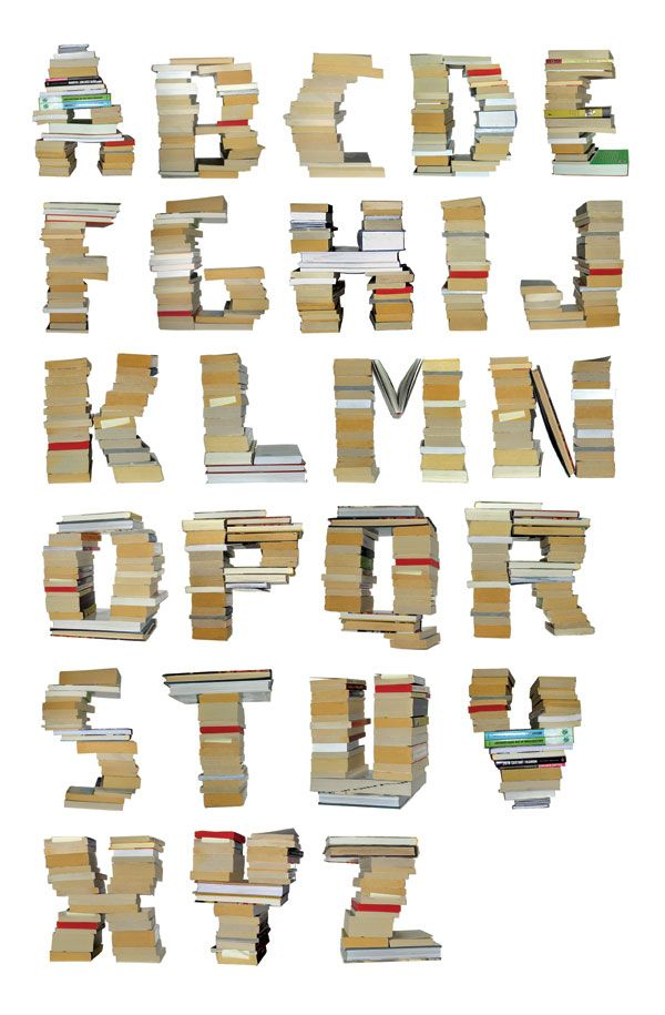 Alphabet made of books by Byggstudio