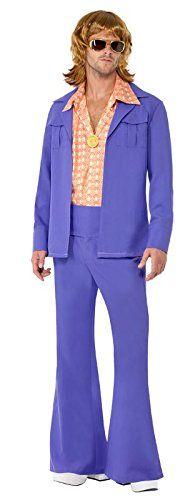 Smiffy's - Costume per travestimento Disco anni '70 Uomo, con pantaloni a zampa di elefante, L