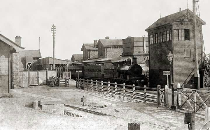 Kyneton Railway Station in the Macedon Ranges of Victoria in 1900.