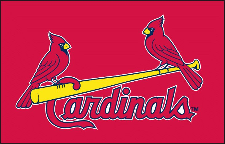 St. Louis Cardinals Jersey Logo (1998) - (BP) Two cardinals perched on a yellow bat between Cardinals script in red with navy and white outlines on red