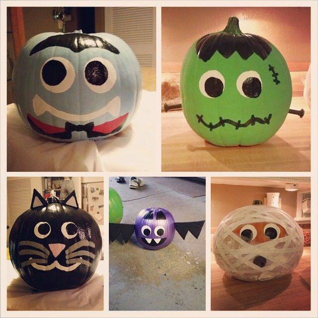Halloween Pumpkin Painting A Vampire Frankenstein