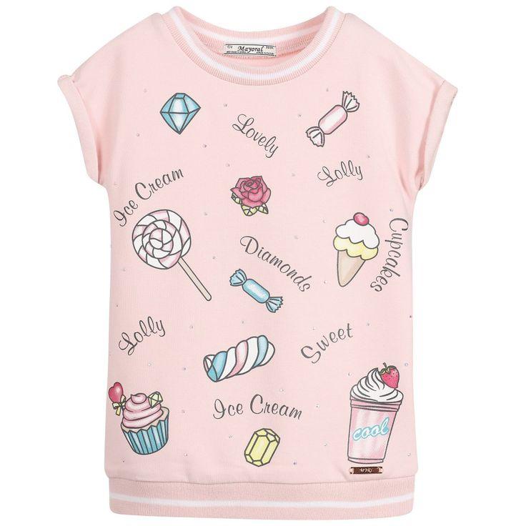 Mayoral Girls Pink Jersey Printed Dress at Childrensalon.com