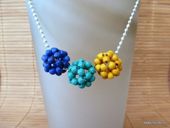 Handstitched Beaded Ball necklace Bead Stitching Magnesite