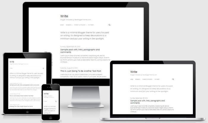 #blog #blogger #blogging #writer #fashion #template #theme #white #free #personal          Write is a minimal, fully responsive Blogger theme for users focused on writing. Write Blogger Template is designed to keep decorations to a minimum and put your writing in the spotlight. It has one column layout, auto post summaries, multi-level navigation menu, social and share icons, 2 columns footer, related posts with thumbnails, Google fonts and more.