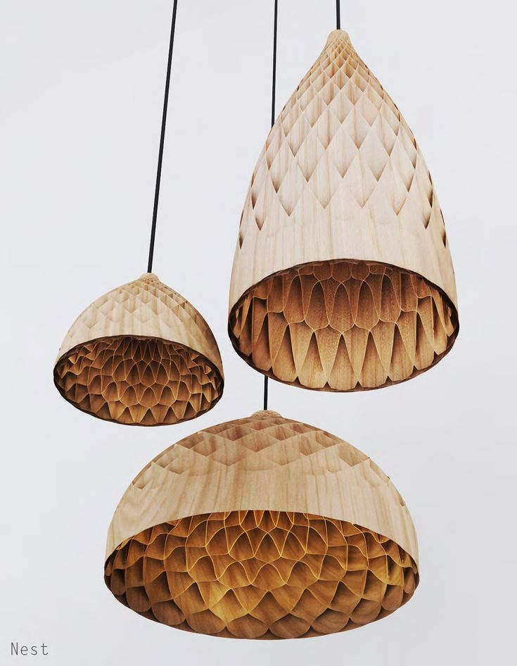 bamboo pendant lights   The Nest, honeycomb-inspired lamps designed by Edward Linacre