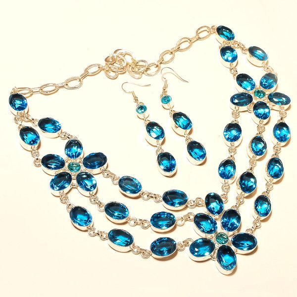 Long Necklaces – Topaz Silver Necklace London Blue Topaz Necklace – a unique product by IndianCraftPalace on DaWanda