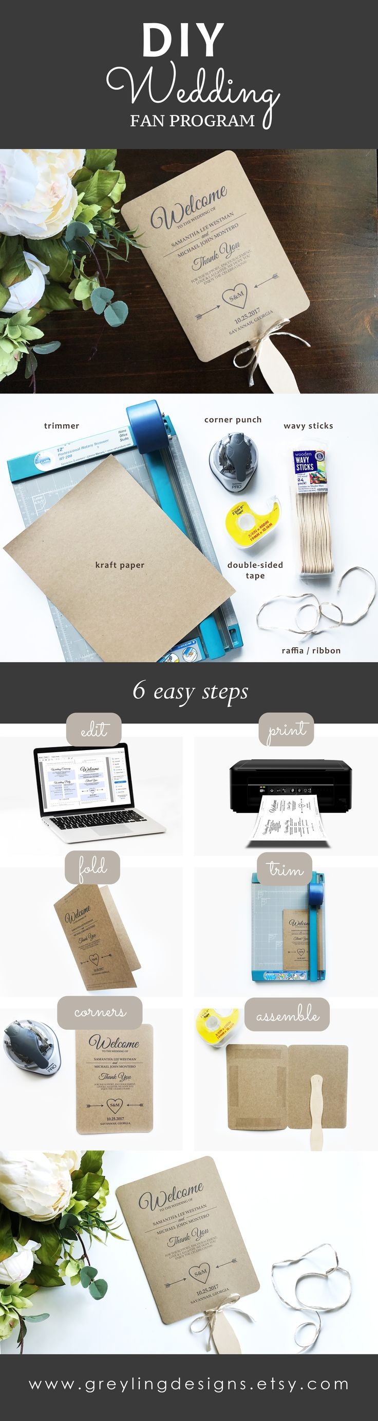 Make we wedding fan program. DIY wedding fan program. 6 easy steps to make a wedding fan program. Easy to use template. Instant template download in our shop