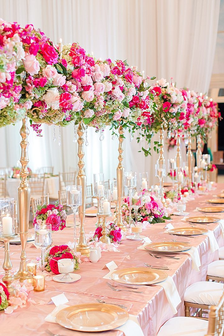 Classic Elegant Hot Pink Blush And Gold Wedding Reception With Hot Pink Wedding Flowers Hot Pink Wedding Flowers Pink Wedding Receptions Pink And Gold Wedding