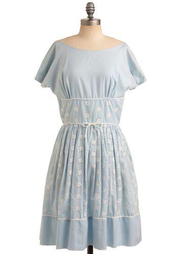Sweet Pale Blue Vintage DressBlue Dresses, Vintage Dresses, Bays Dresses, The Bays, Modcloth Vintage, Style Closets, Blue Vintage, Retro Vintage, Vintage Clothing
