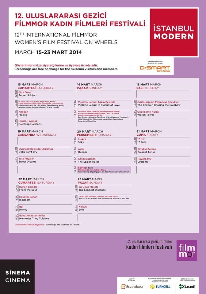 Filmmor Kadın Filmleri Festivali İstanbul Modern Sinema'daymış. Filmlerin listesi şöyle: