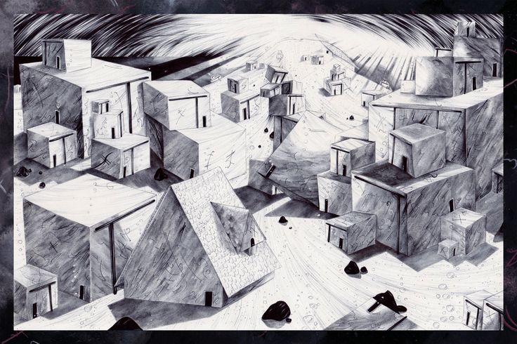 Ethel Wilks  #art #illustration #chiaroscuro #biro #ink #drawing #comic #graphicnovel #landscape #design #picturebook #blackandwhite #detailed #handdrawn