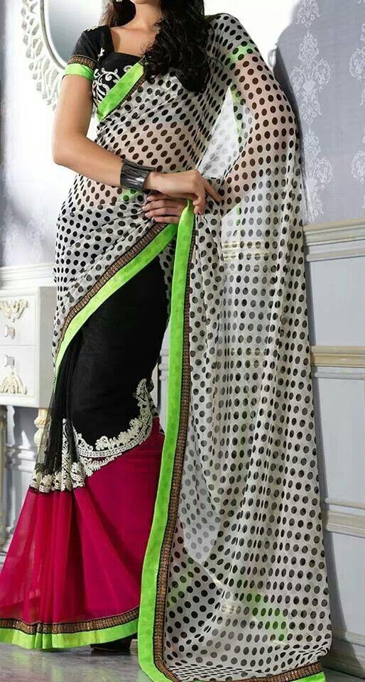 Fuchsia Black White Sari