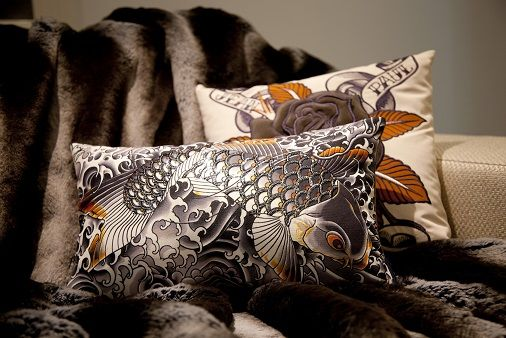 Jean Paul Gaultier cushions in the urban living interiors showroom