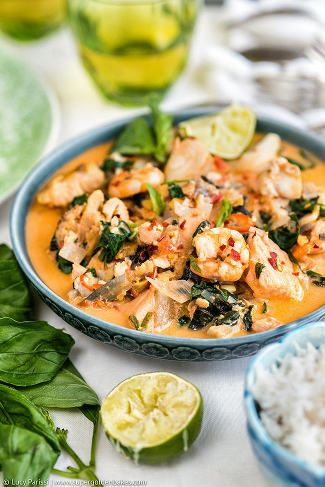One-pot Thai Fish Stew with salmon, cod and prawns - packed with flavour and ready in about 30 minutes! Serve with steamed rice for an easy midweek dinner.