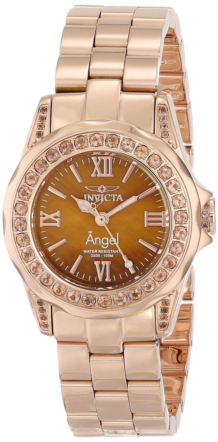 women's watches: Women watches gold Invicta Women's 15051 Angel Analog Display Swiss Quartz Rose Gold Watch