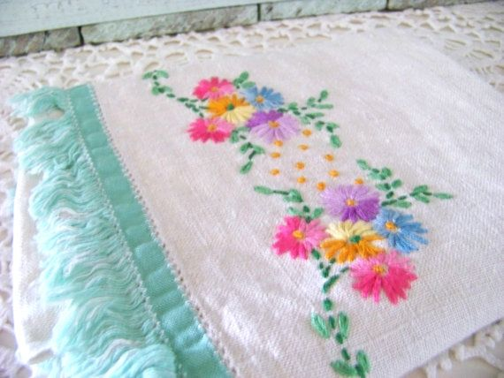 Vintage Embroidered towel - nice colours
