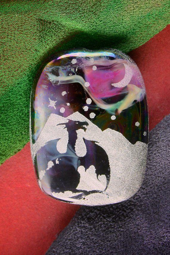 Legendary Dragon ~ Lampwork Focal Bead ~ Handmade Sandblasted Iridescent Lustre Glass SRA ~ Fantasy Picture Bead Tablet Pendant