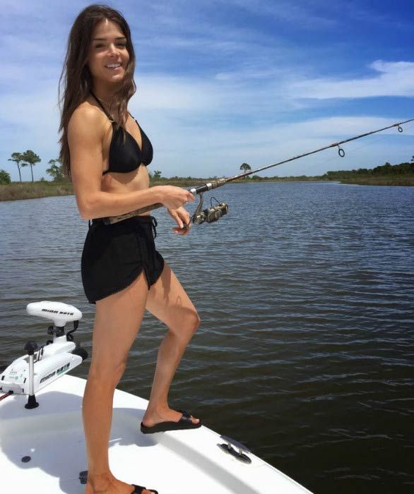 Marie Avgeropoulos pictured while fishing in 2015...