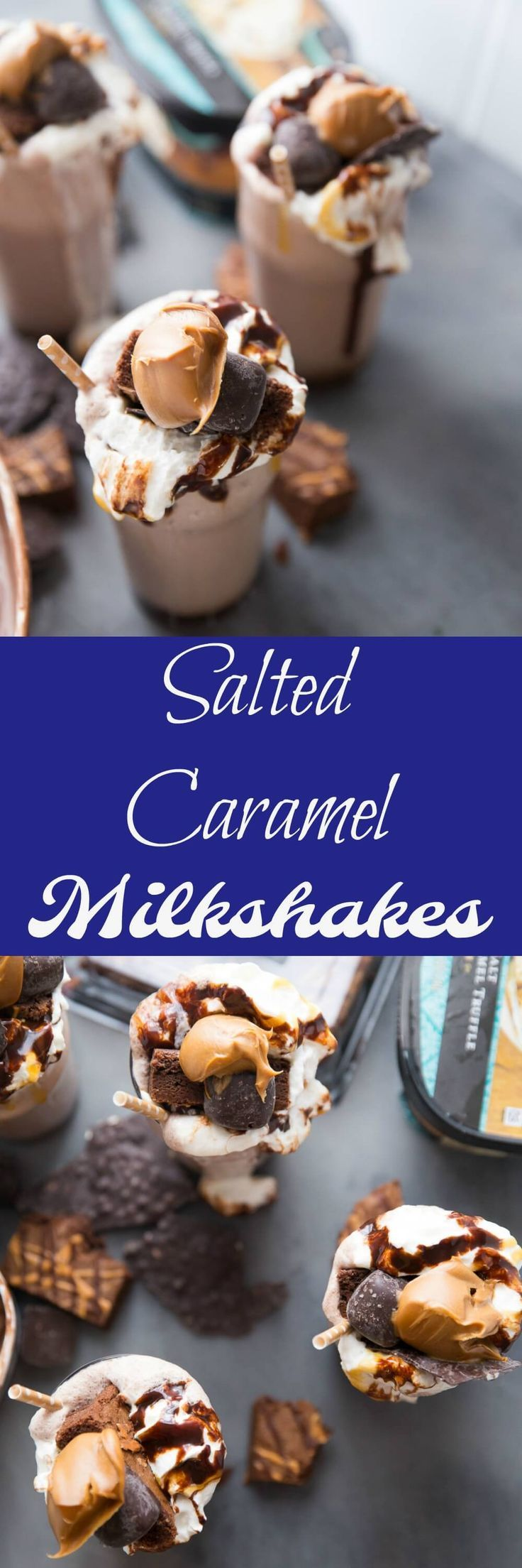This salted caramel milkshake is for extreme salted caramel lovers! Brownies, candies, salted caramel sauce, and two kinds of ice creams make this one memorable and extreme milkshake!
