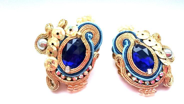 """Eaarings soutache, sequins Facebook: """"Soutache, beads, Shibori Cristallin, sutasz i koraliki"""""""