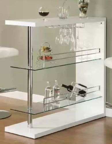Bar Table With Two Glass Shelves In Gloss White Finish By