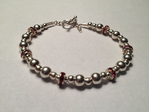 Sterling Silver Bead Bracelet with Swarvorski by GLANCEJewelry, $40.00