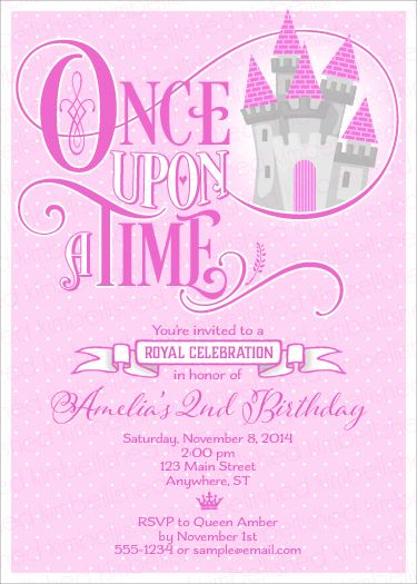 Once Upon A Time Princess Castle Birthday Invitation By Kimbellished · Baby  Shower ...