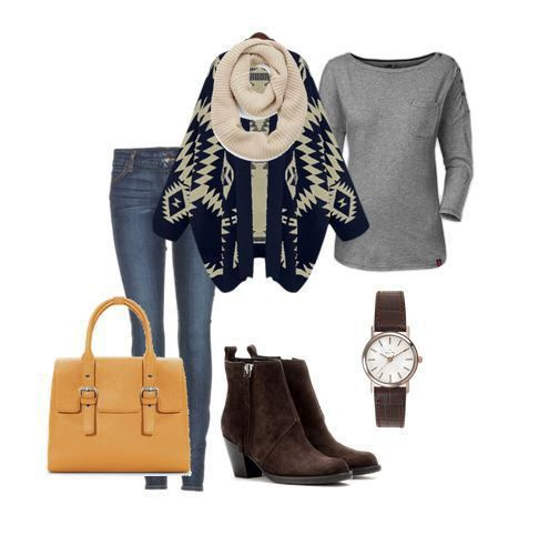 Fall Outfit Ideas - Pair a gray long sleeve tee with jeans, aztec cardigan, boots and infinity scarf for a fun fall look. See Mom Fabulous for more style inspiration.