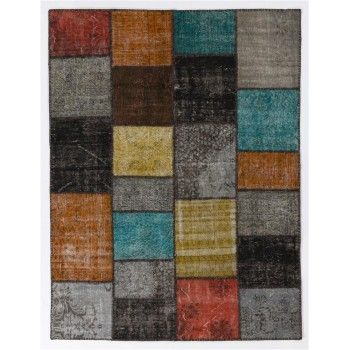 200x260 cm ( 6.7 x 8.6 Ft ) Gray, Black, Yellow, Orange, Blue Patchwork Rug