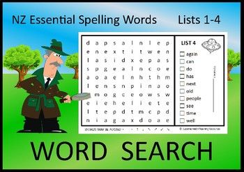 Eleven Word Searches for Lists 1-4 of the NZ Essential Spelling Words.Included:   11 word searches in lower case letters  11 word searches in capital letters  11 Answer sheets   Blank template  for your students to create their own word searchFeatures:   10 words per word search.