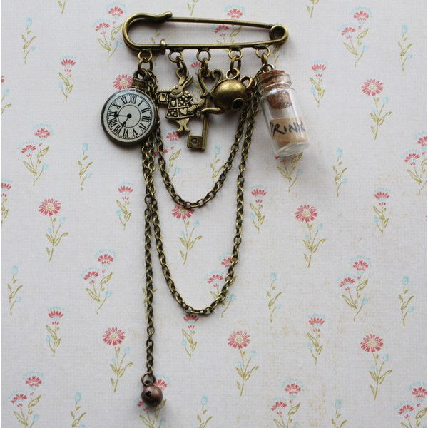 Alice in Wonderland Brooch, Alice in Wonderland Jewelry, steampunk... (€18) ❤ liked on Polyvore featuring jewelry, brooches, steampunk brooch, steampunk charms, antique broach, charm jewelry and antique brooch