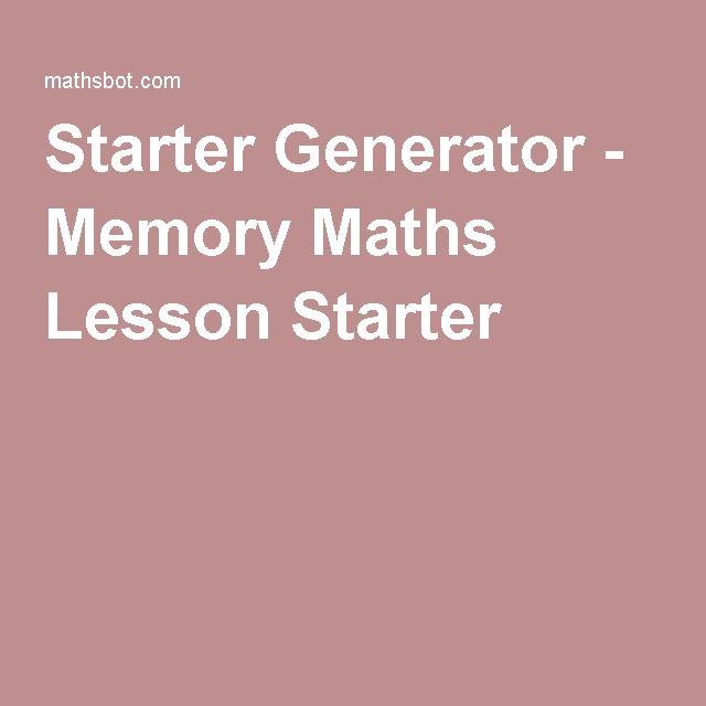 Starter Generator - Memory Maths Lesson Starter