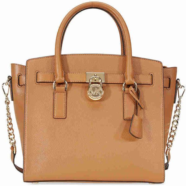 Michael Kors Hamilton Large Pebbled Leather Satchel- Acorn ($195) ❤ liked on Polyvore featuring bags, handbags, beige satchel handbag, beige satchel, michael kors purses, satchel bag and michael kors satchel